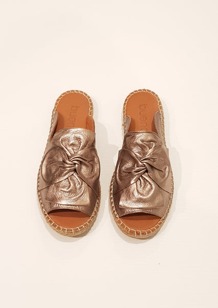 Kalmia Slides  - Metallic Leather