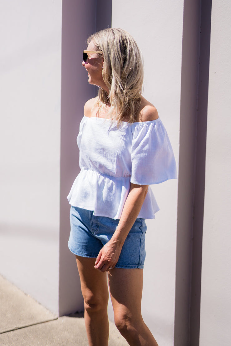 Monique Top - White Linen | Mabel and Woods | Women's Fashion