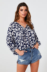Indra Blouse - Navy Leopard | Mabel and Woods | Women's Fashion