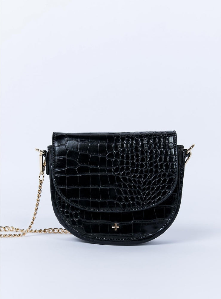 Peta and Jain Alex Black Croc Saddle Bag | Mabel and Woods | Women's Fashion