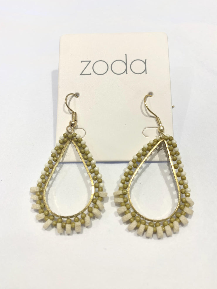 Zoda Teardrop Khaki Green & Natural Wood Earring | Mabel and Woods | Women's Fashion