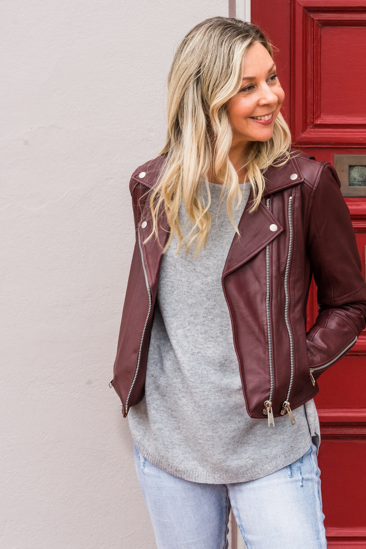 Jupiter Leather Jacket - Burgandy | Mabel and Woods | Women's Fashion