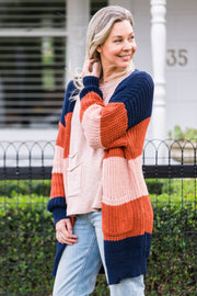 Carmen Cardigan - Navy Stripe