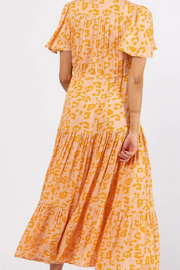 Sophia Dress - Peach Leopard