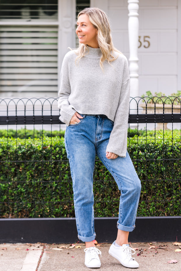 Selena Crop Knit - Grey | Mabel and Woods | Women's Fashion