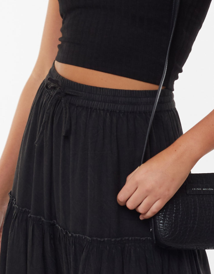 AAE Claudia Midi Tiered Skirt - Vintage Black