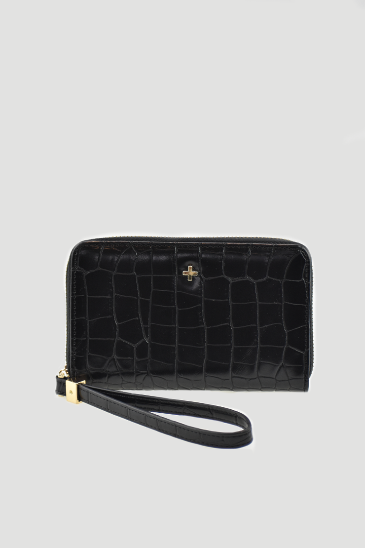Peta & Jain Ziggy Wallet - Black Croc