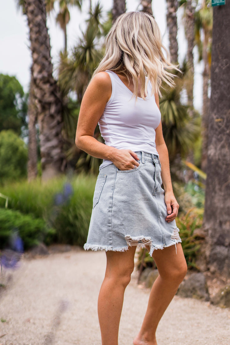 Blair Distressed Denim Skirt | Mabel and Woods | Women's Fashion