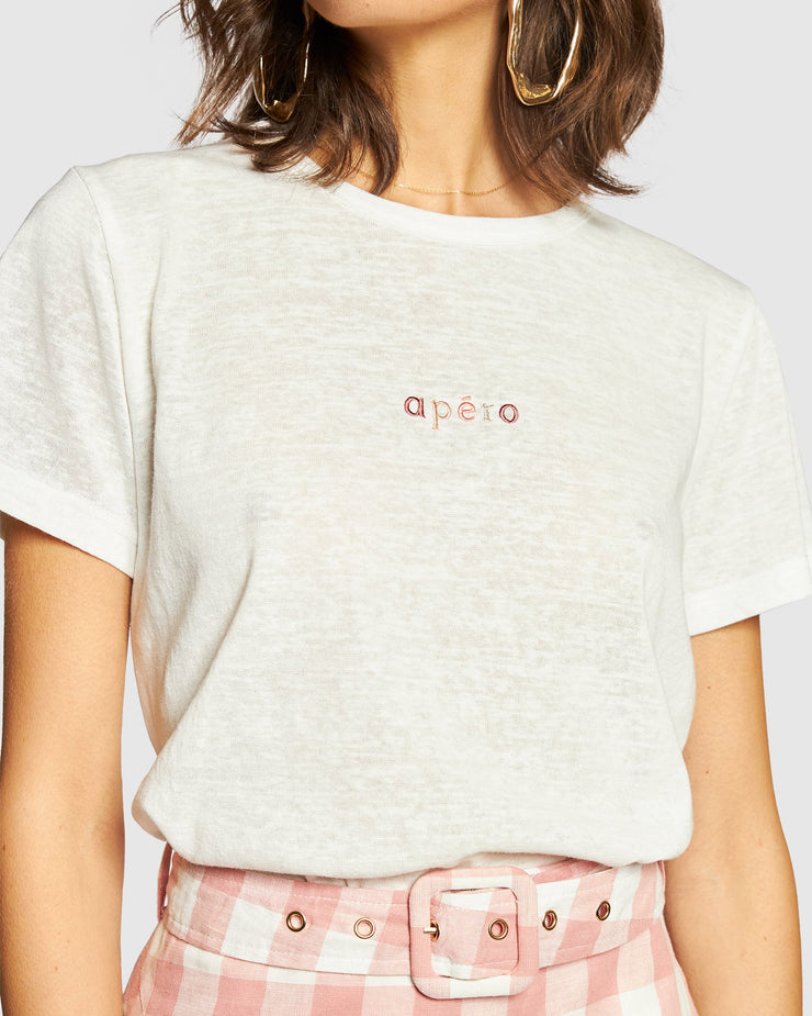 Mini Embroidered Femme Tee - White