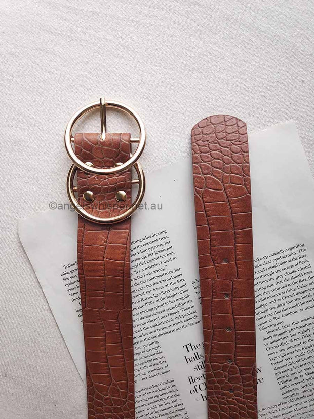 Aria Tan Croc Effect Belt | Mabel and Woods | Women's Fashion