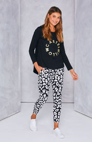 Kenji Comeback Pant - Black Leopard | Mabel and Woods | Women's Fashion