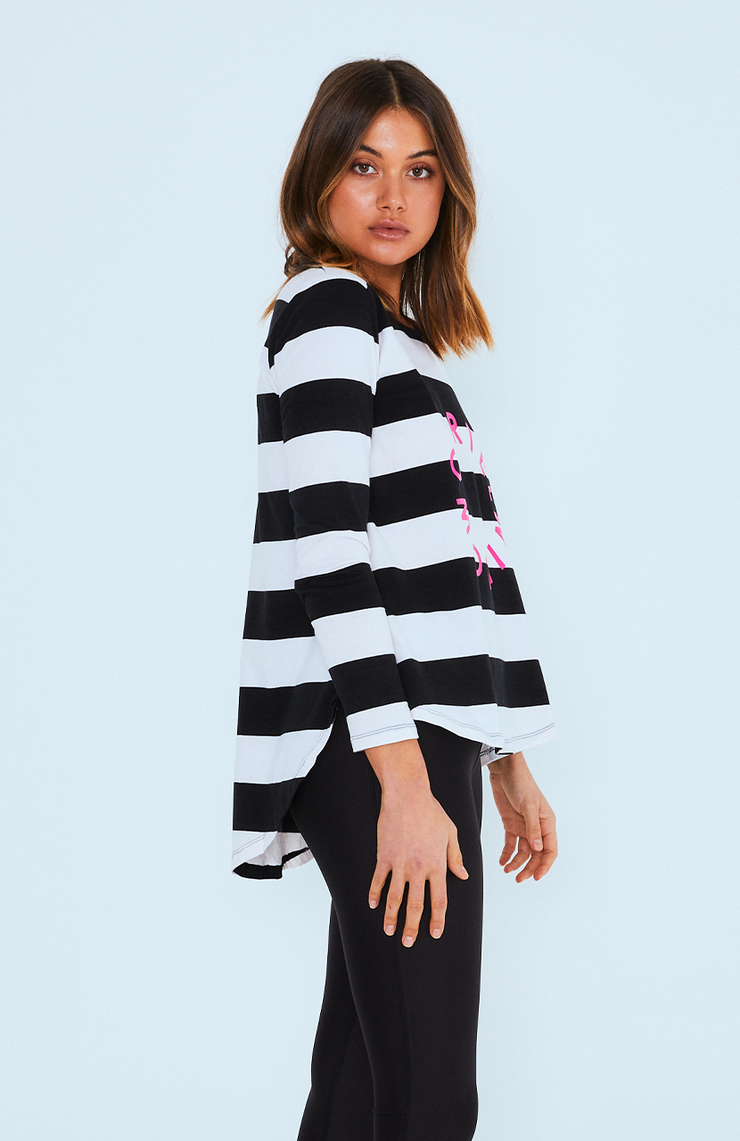 Cartel and Willow Orbit Stripe Top - Pink Logo