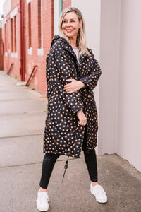 Tilda Puffa Coat - Black with Amber Dot