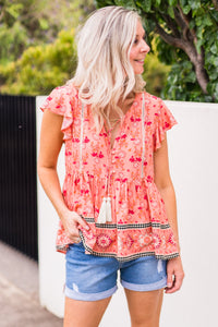 Sunrise Top - Coral