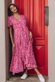 Sophia Dress - Pink Leopard
