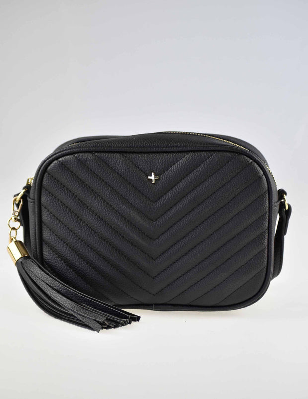 Peta and Jain Gracie Bag - Black Chevron Quilt | Mabel and Woods | Women's Fashion