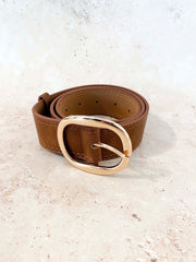 Emma Oval Buckle Belt - Tan