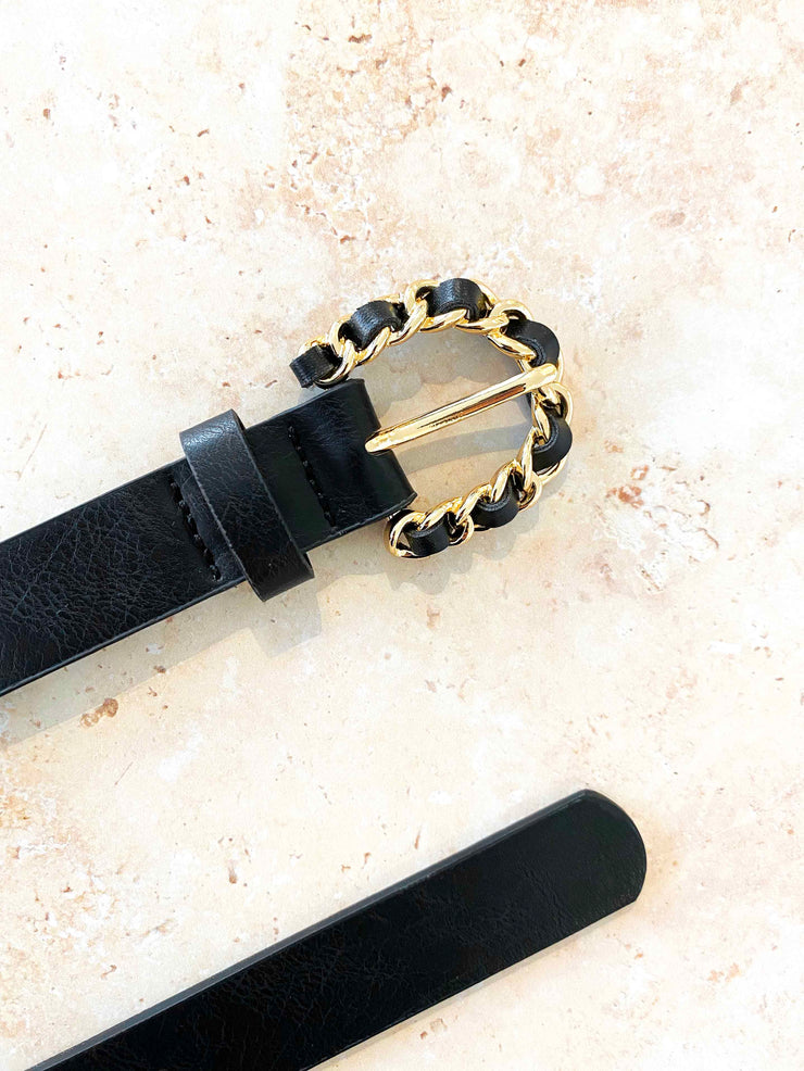 Megan chain detail belt - black