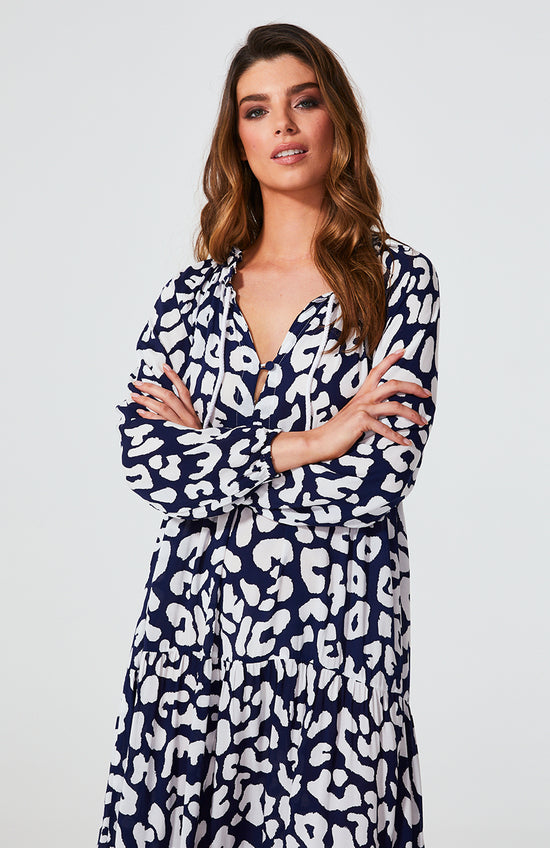 Cali Rope Maxi Dress - Navy Leopard | Mabel and Woods | Women's Fashion