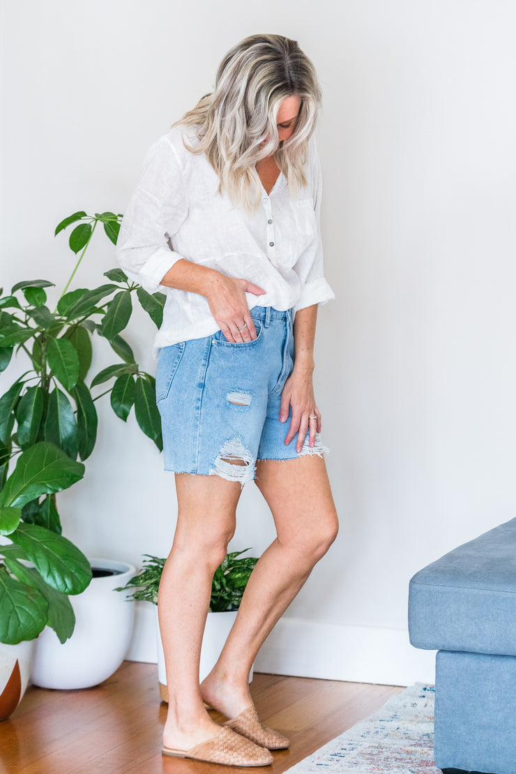 Swayze Distressed Denim Shorts