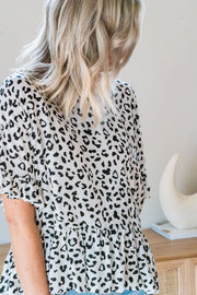 Remi Top - White Animal Print
