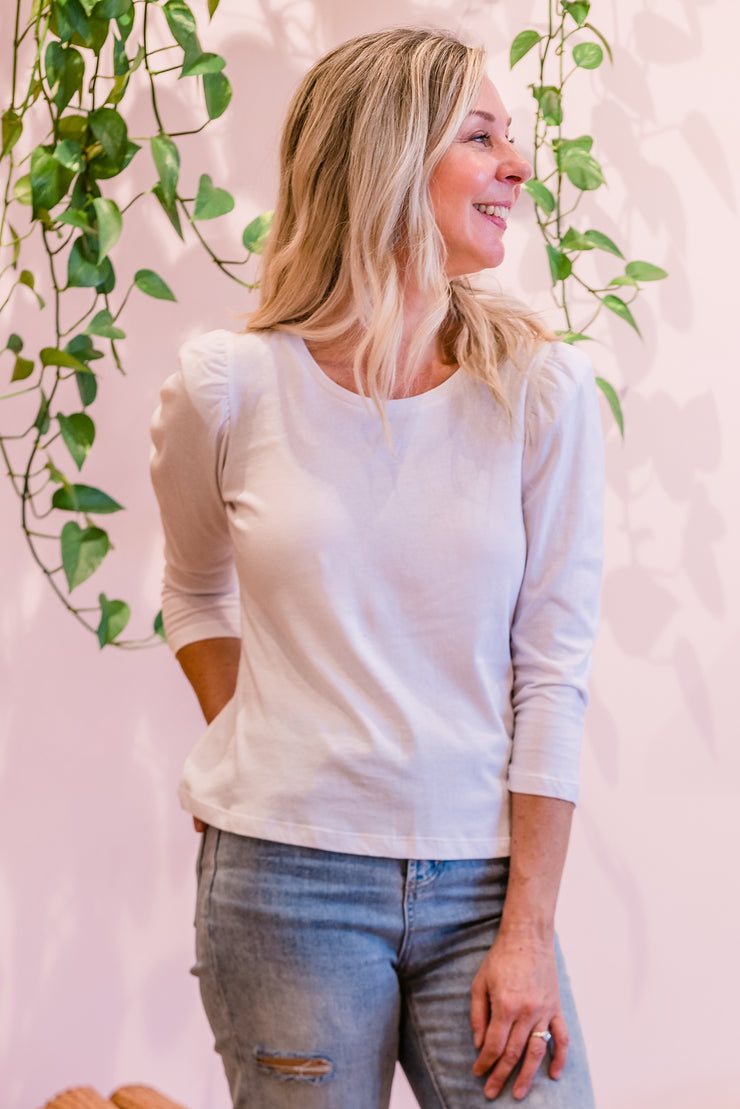 Madlen Puff Top - White | Mabel and Woods | Women's Fashion