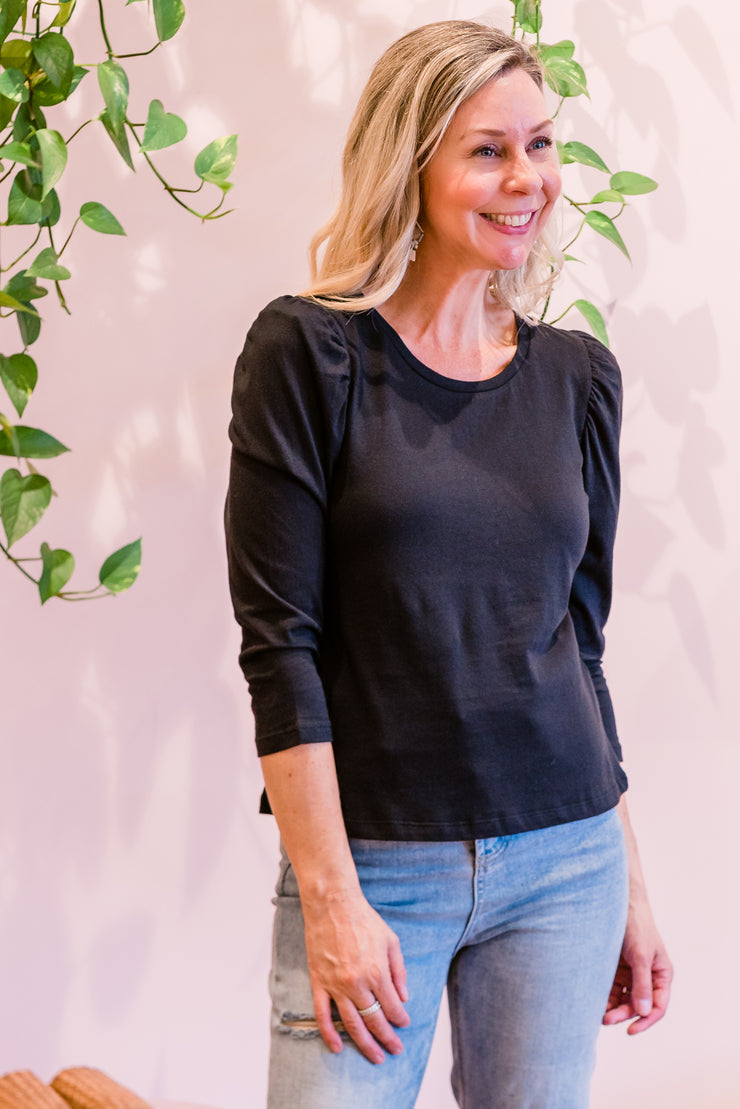 Madlen Puff Top - Black | Mabel and Woods | Women's Fashion