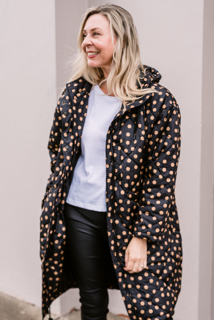 Tilda Puffa Coat - Black with Amber Dot | Mabel and Woods | Women's Fashion