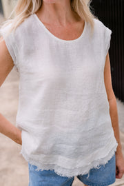 Ryan Top - White Linen | Mabel and Woods | Women's Fashion