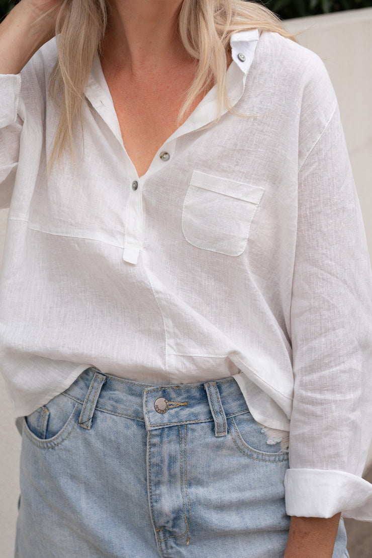 Laine Shirt - White Linen | Mabel and Woods | Women's Fashion