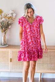 Sophia Short Ruffle Dress - Pink Leopard