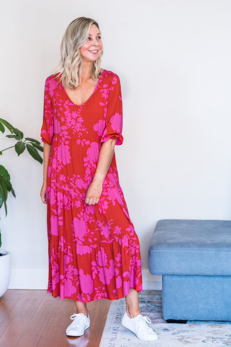 Carlie Dress - Pink and Red Floral