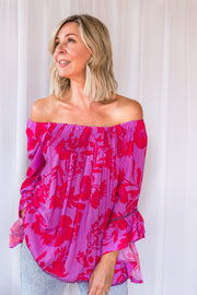 Charlotte Shirred Top - Purple/Red