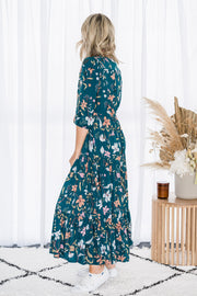 Amy Midi Dress - Teal Floral
