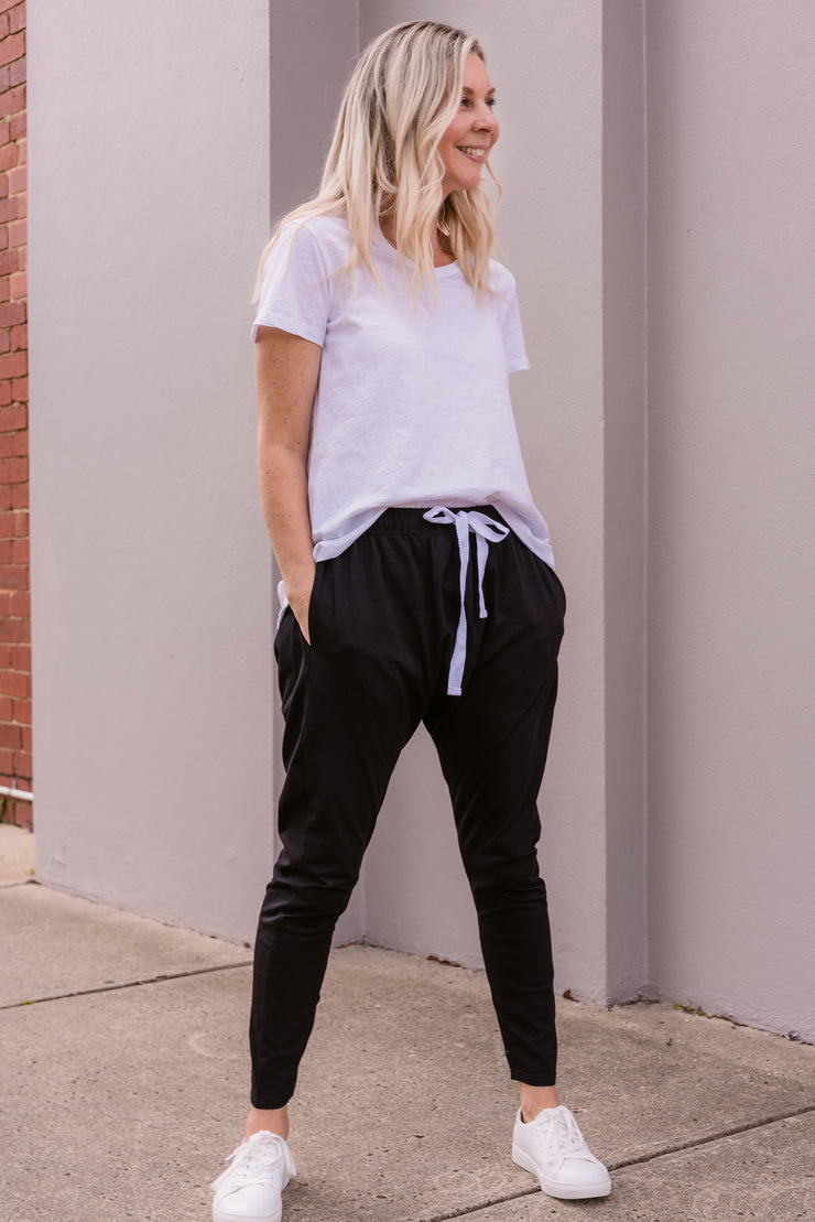 Kiera Drawstring Slouch Pants - Black | Mabel and Woods | Women's Fashion