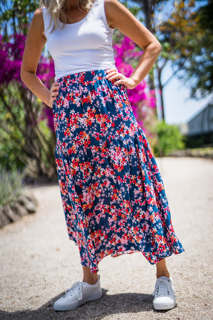 Indigo Skirt - Blue Floral | Mabel and Woods | Women's Fashion