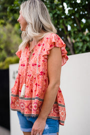 Sunrise Top - Coral | Mabel and Woods | Women's Fashion