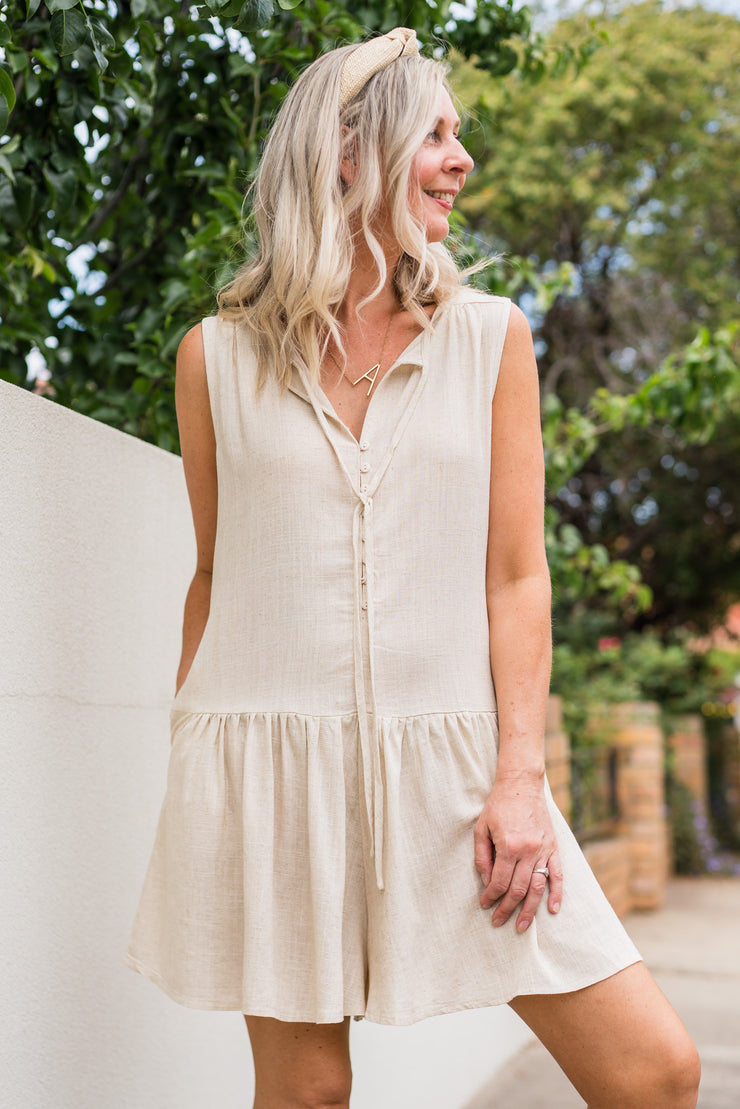 Teddy Playsuit - Linen | Mabel and Woods | Women's Fashion