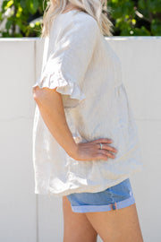 Hartley Top - Natural Linen | Mabel and Woods | Women's Fashion