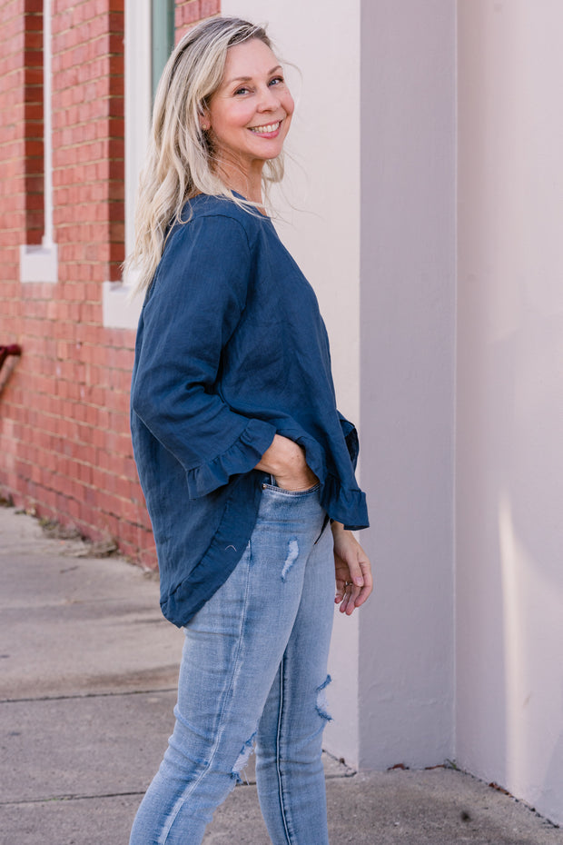 Denim Linen Top - Blue | Mabel and Woods | Women's Fashion