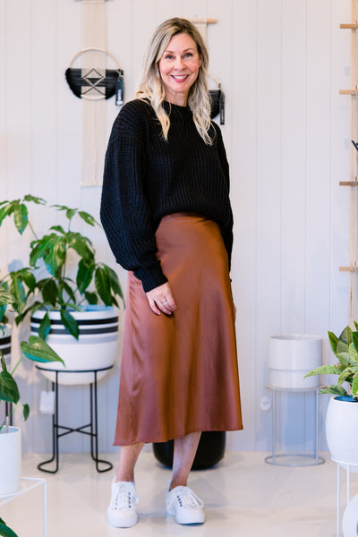Swing It Satin Skirt - Coffee