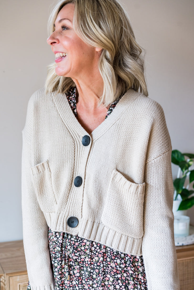 Jacki Crop Cardigan - Latte