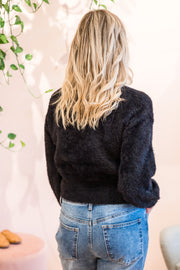 Woodland Fluffy Knit - Black | Mabel and Woods | Women's Fashion