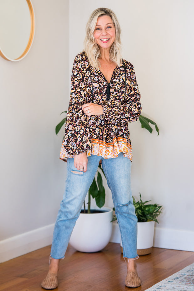 Boho Nights Top - Black Floral