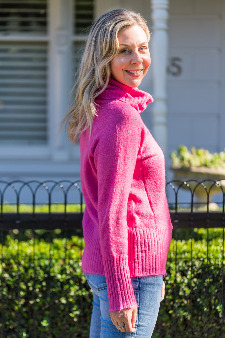 Fuchsia Roll Neck Knit | Mabel and Woods | Women's Fashion