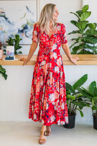 Savannah Maxi Dress - Red Floral