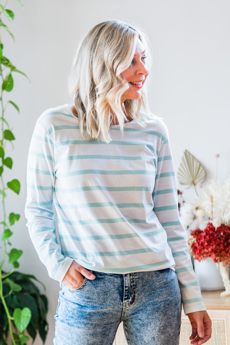 Amanda Tee - White & Mint Stripe