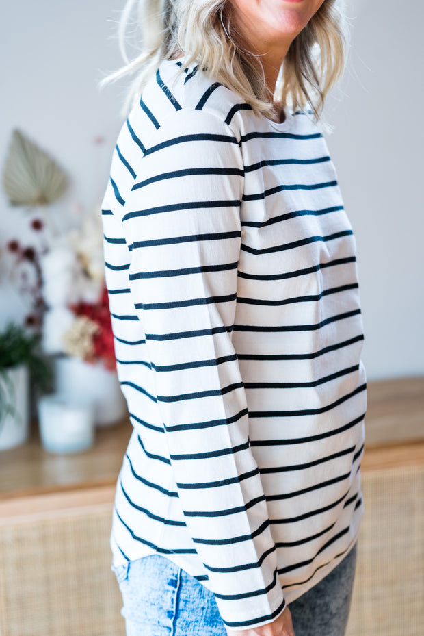 Amanda Tee - White & Black Stripe
