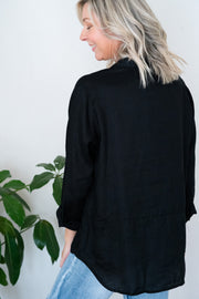 Laine Shirt - Black Linen