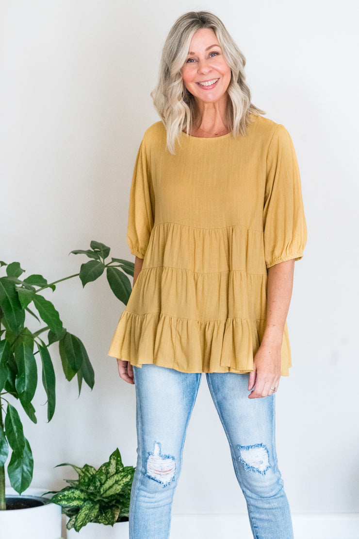 Yasmin Layer Top - Vintage Mustard